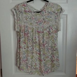 Meadow Rue ivory floral blouse, size Large